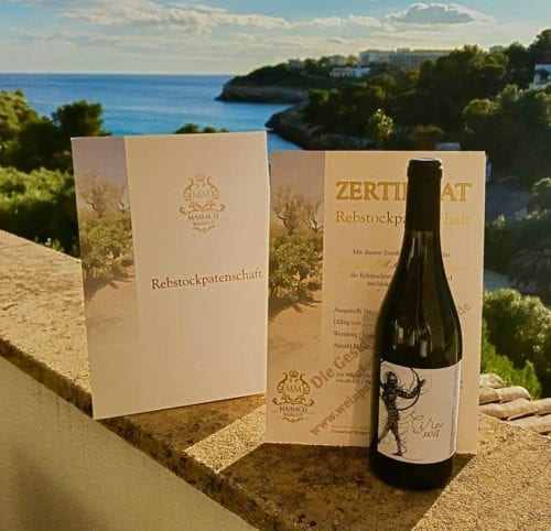 weinpatenschaft mallorca weinzertifikat weinflasche Aussicht Bucht Rotwein Circo 2018