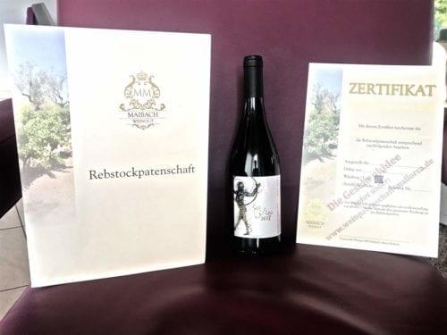 weinpatenschaft mallorca weinzertifikat weinflasche weinrot wein rot Rotwein Circo 2018